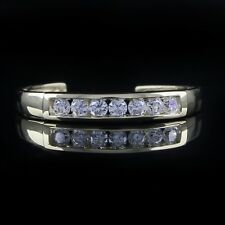 Adjustable Channel Set Brilliant Cut CZ Toe Ring Solid 10k Yellow Gold