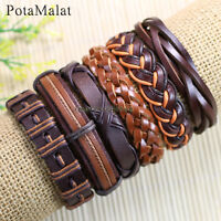 PotaMalat 6pcs Genuine Brown Leather Bracelets Multi Wrap Hemp Surfer Braid-D74