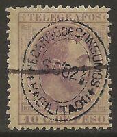Philippines 1898 RECARDO DE CONSUMOS 2 4/8 on 10c Lilac Fine HR