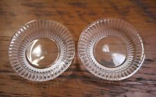 Pair Vintage Lalique Signed France Art Deco Crystal Butter Pat Dish Salt Cellars