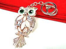 Rose Gold Pearl Owl Keyring Dangling Rhinestone Diamante Handbag Buckle Charm