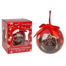 Pug Dog Christmas Tree Decoration, Novelty Gift, Xmas Pug Bauble