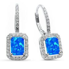 Radiant Shape Blue Opal & Cz .925 Sterling Silver Earrings