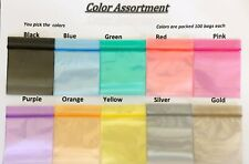 100 SMALL BAGGIES  2020 ALL COLORS AND CLEAR MINI ZIP LOCK POLY BAGS ALL $2.99