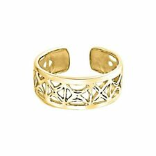 Toe Adjustable Ring 18K Yellow Gold Ove Out Open X Filigree Wide Midi Band Women