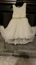 American Princess Girls Formal White Floral Glitter Easter Dress Size 5