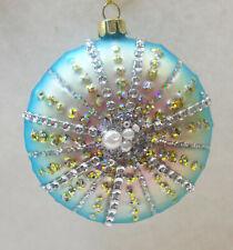 Gem Encrusted SEA URCHIN Glass Christmas Ornament Holiday Ocean Beach Decor