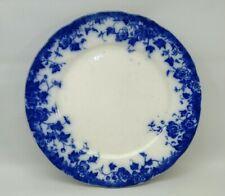 "VTG. FLOW BLUE SEMI-PORCELAIN ENGLAND BURGESS & LEIGH BURSLEM VERMONT 8"" PLATE"