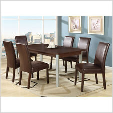 Dining Table Setting with 6 Stylish PU Leather Chairs