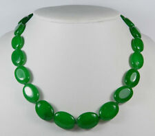 Natural Handmade 13x18mm Oval Green Jade Gemstones Beads Necklaces 18''