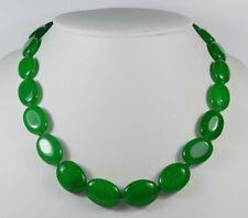 Natural Handmade 13x18mm Oval Green Jade Gemstones Beads Necklace 18''