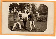 (02) Real Photo Postcards RPPC - Two Men Boxing Outdoors - Sports