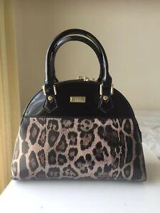 NEW Serenade Ocelot Leopard print Black Patent Leather Handbag