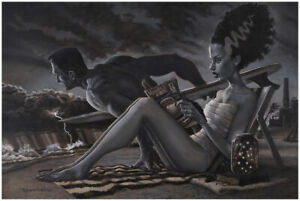 The Bathers by Damian Fulton Bride of Frankenstein Monster Fine Tattoo Art Print