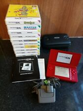 Nintendo DS Lite Red Handheld System - Console Bundle - 10 Kids Games - Tested
