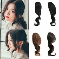 2Pcs Clip in Side Bangs 100% Human Hair Wave Fringe Front Bangs Hair Extensions