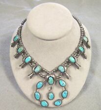 VINTAGE TURQUOISE AND SILVER SQUASH BLOSSOM