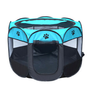 Washable 8 Side Cage Pet Dog Cat Play Tent Exercise Pens Foldable Crate Playpen