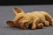 TJ146 - 7*5*3 CM Carved Boxwood Carving - Lovely Sleeping Dog ( French bulldog )