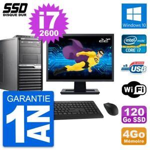 """PC Tour Acer M2610G Ecran 22"""" Intel i7-2600 RAM 4Go SSD 120Go Windows 10 Wifi"""