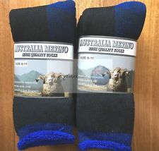 6 PAIRS 6-11 HEAVY DUTY AUSTRALIAN MERINO EXTRA THICK WOOL SOCKS BLACK/BLUE