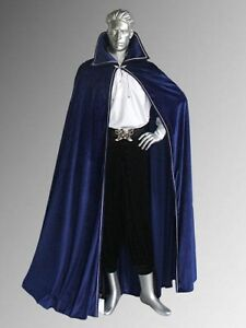 Halloween Costume BLUE VELVET MEDIEVAL COLLAR CLOAK KING RENAISSANCE