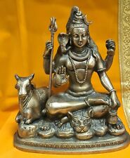 Brass Metal Shiva Beautifully made with nandi  9.5 Inches 3.5 Kg USA Seller