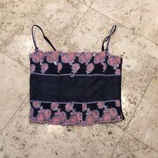 Victoria's Secret Angels Blue Pink Floral Embroidered Sequin Bustier Corset L
