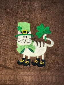 Embroidered Brown Bathroom Hand Towel Tan Cat St Patrick's Day Shamrocks Boots