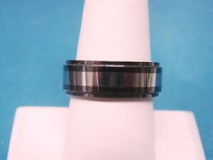 Tungsten and Ceramic Wedding band Ring Size 9   8mm wide