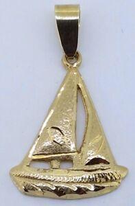 9k Sailing Boat Pendant_375 yellow gold