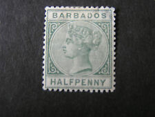 BARBADOS, SCOTT # 60, 1/2p. VALUE GREEN 1882-85 QV ISSUE MH