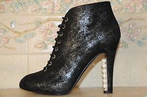 Neuf Chanel Noir Argent Perles Talons Lacet Cheville Bottines Bottes 41 10.5