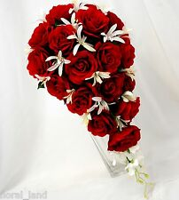 Wedding flower silk red rose agapanthus white bouquet bouquets roses teardrop