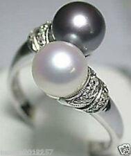 black white freshwater pearl ring 7~8#