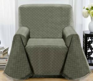 """""""A TOP PICK""""   MATRIX GREYISH GREEN NON-SLIP THROW CHAIR COVER-3 COLORS AVAIL F"""