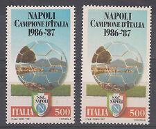 ITALIA VARIETA' NAPOLI CAMPIO CALCIO 1986 - 1987 SFONDO IN COLORE Azzurro  RARA