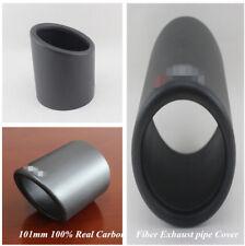 101mm Matte 100% Real Carbon Fiber High Flow Car Exhaust Pipe Cover Muffler Tip