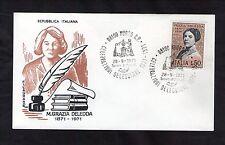 FDC ITALIA FILAGRANO 28-9-1971 NUORO GRAZIA DELEDDA SCRITTRICE 1871-1936