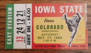 Iowa State Cyclones Colorado Buffaloes Football Ticket Stub Oct 1964 Homecoming