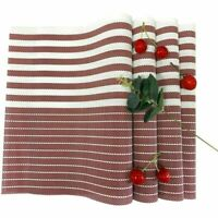 Placemats Set of 6 Woven Dining Table Mats PVC Heat Resistant  Stripe Red