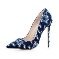 Womens Stiletto High Heel Pointed Toe Denim Pumps Party Shoes AU Plus Size 2-9