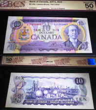 ERROR BANKNOTE. CUT OUT OF REGISTER. BANK OF CANADA 1971 $10