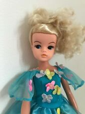 VINTAGE MASQUERADE SINDY DOLL - 033055X, BLONDE WEARING BARBIE SONGBIRD GOWN VGC