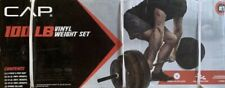 New CAP 100 Lb Vinyl Weight Set Barbell 1 Inch Plate Standard SHIPS TODAY!!
