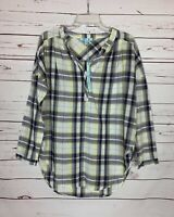 She + Sky Stitch Fix Women's M Medium Yellow Plaid Spring Top Blouse NEW TAGS