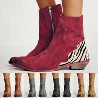 Women Ladies Autumn Sexy Lady Flock Ankle Boots Flat Square Heel Pointed Toe Zip