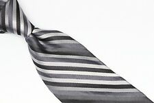 Express Design Studio Silk Neck Tie Tonal Gray Black Silver Pewter Stripe Weave