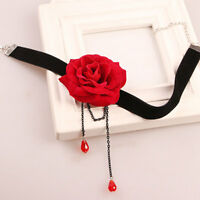 GC- JT_ Fashion Rose Flower Velvet Choker Clavicle Chain Women Necklace Jewelry