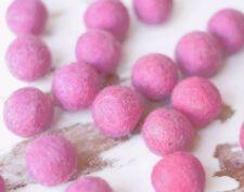 2.5cm PINK Felt Balls x20.Wool.Party Decor.Pom poms.Felt Ball.Wholesale.